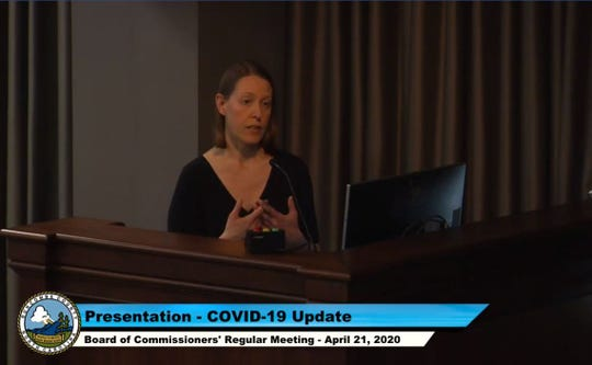 Interim health director and medical director Dr. Jennifer Mullendore speaks to the Buncombe County Board of Commissioners at its April 21, 2020 meeting