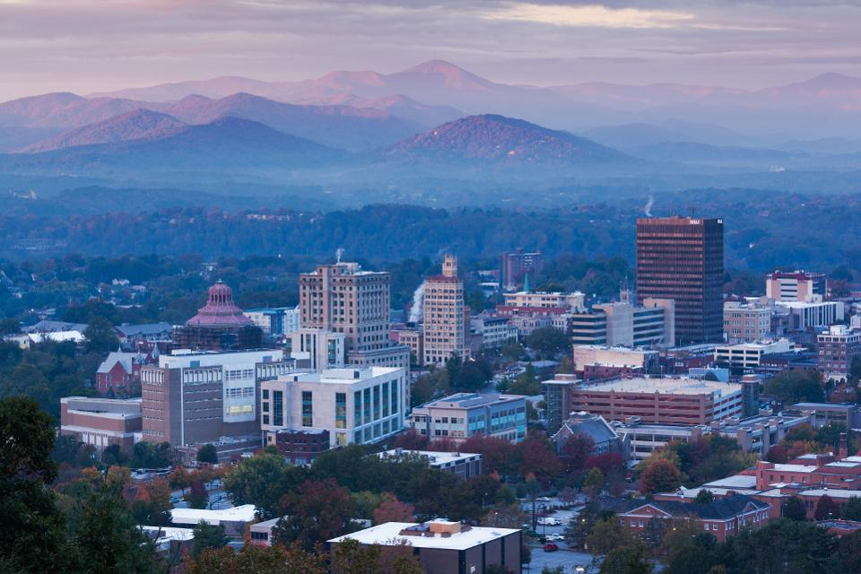 Asheville, NC elevated city skyline, view from my house.