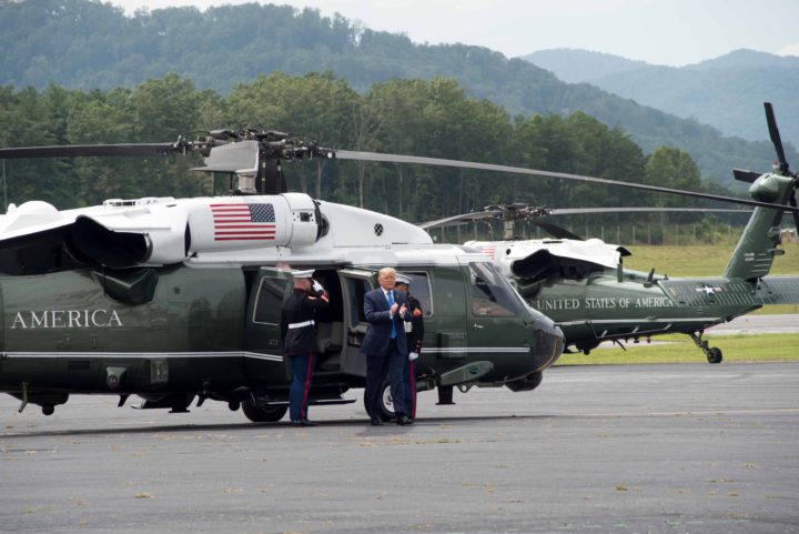 Donald Trump leaving Marine One at Asheville Regional Airport