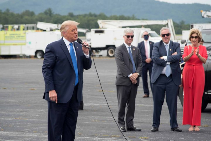 Mark Meadows watching Trump at Asheville Regional Airport