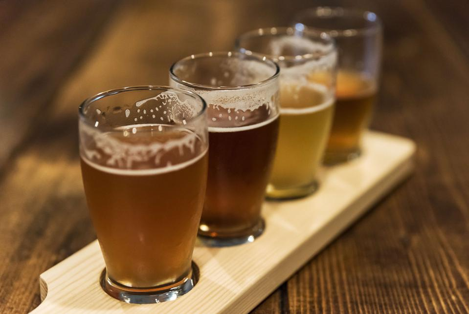 Assorted craft beer samples at a micro-brewery...